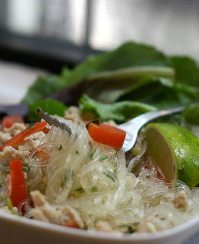 Salade de nouilles de riz avec crevettes
