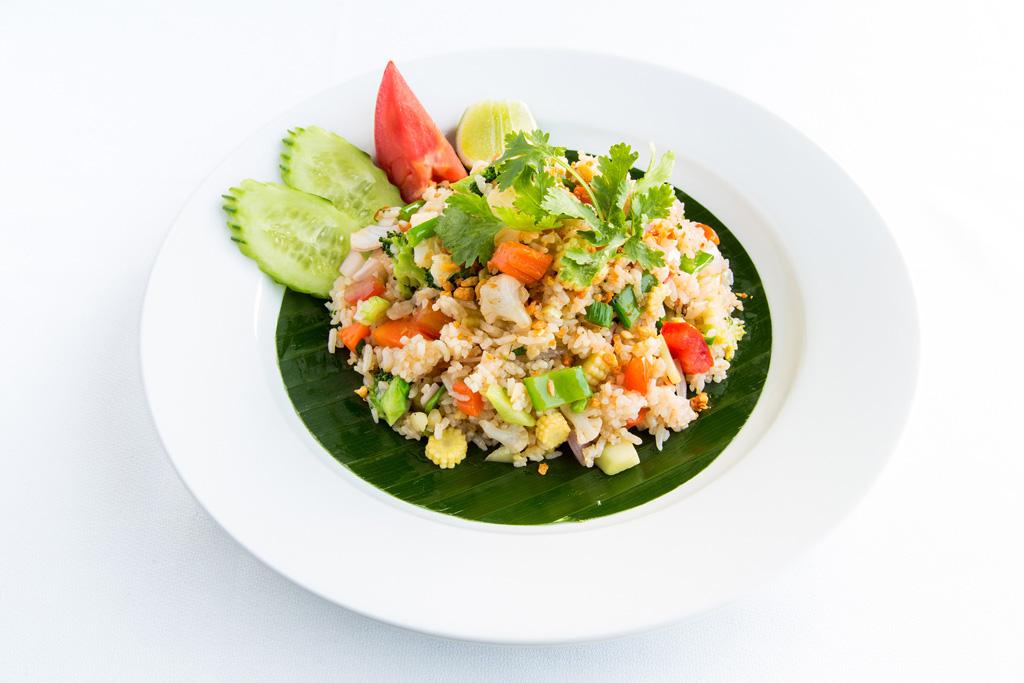 Khao Phad Phak Végétarien au restaurant ABsolute thai, restaurant cuisine thai thailandaise à Valbonne Sophia Antipolis entre Cannes Mougins et Antibes