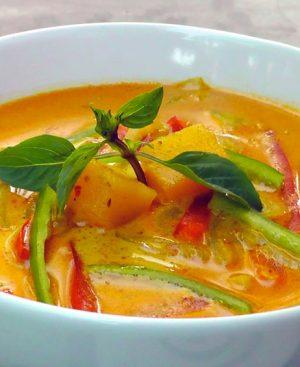 Mijoté de crevettes ou poulet au curry jaune